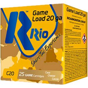 """RIO Ammunition Game Load 20 Gauge Ammunition 2-3/4"""" Shell #8 Lead Shot 1oz 1250fps"""