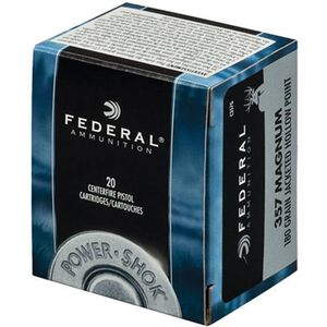 Federal .357 Magnum Ammunition 180 Grain JHP 20 Round Box 1080 fps