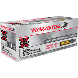Winchester Super X Subsonic .22 Magnum Ammunition 3000 Rounds LHP 45 Grains X22MSUB