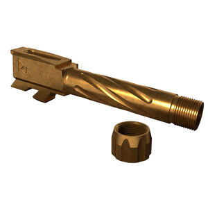 Rival Arms Barrel for GLOCK 43 Models 9mm Luger Fluted/Threaded 1/2x28 416R Stainless Steel PVD Coating Bronze Finish