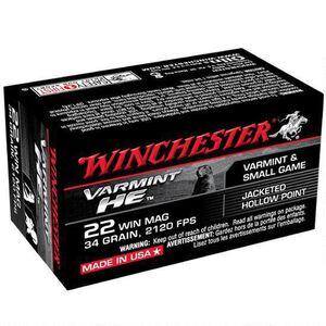 Winchester Varmint HE .22 WMR Ammunition 50 Rounds, JHP, 34 Grains