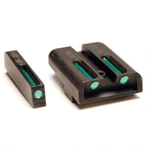 TRUGLO Front Rear Set Sights TFX Tritium Fiber Optic Green for GLOCK High Set Steel Black TG13GL2A