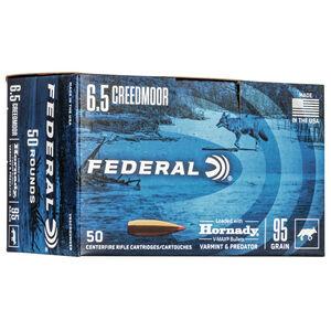 Federal Varmint & Predator 6.5 Creedmoor Ammunition 95 Grain Hornady V-Max Projectile 3300fps