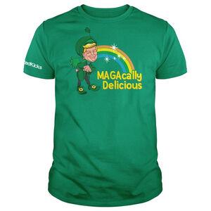 Printed Kicks MAGAcally Delicious Men's Short Sleeve T-Shirt Size Small Cotton Green