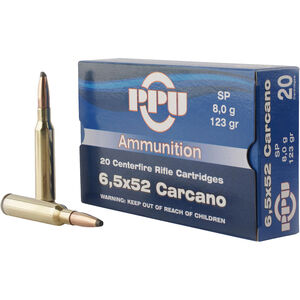 Prvi Partizan PPU Metric 6.5x52 Carcano Ammunition 20 Rounds 123 Grain SP 2690fps