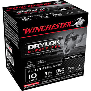 "Winchester Drylok Super Steel 10 Gauge Ammunition #2 Plated Steel 1-5/8oz 3.5"" Shell  1350 fps"