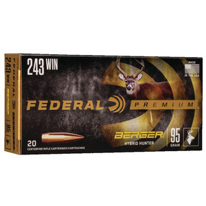 Federal Premium Berger Hybrid Hunter .243 Winchester Ammunition 20 Rounds 95 Grain Berger Hybrid 3050fps