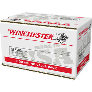 Winchester USA 5.56 NATO Ammunition 200 Rounds 55 Grain Full Metal Jacket 3270fps