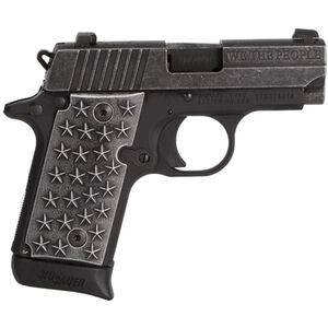 "SIG Sauer P238 'We The People' .380 ACP Semi Auto Handgun 2.7"" Barrel 7 Rounds Star Embossed Aluminum Grips Distressed/Black Anodized Finish"