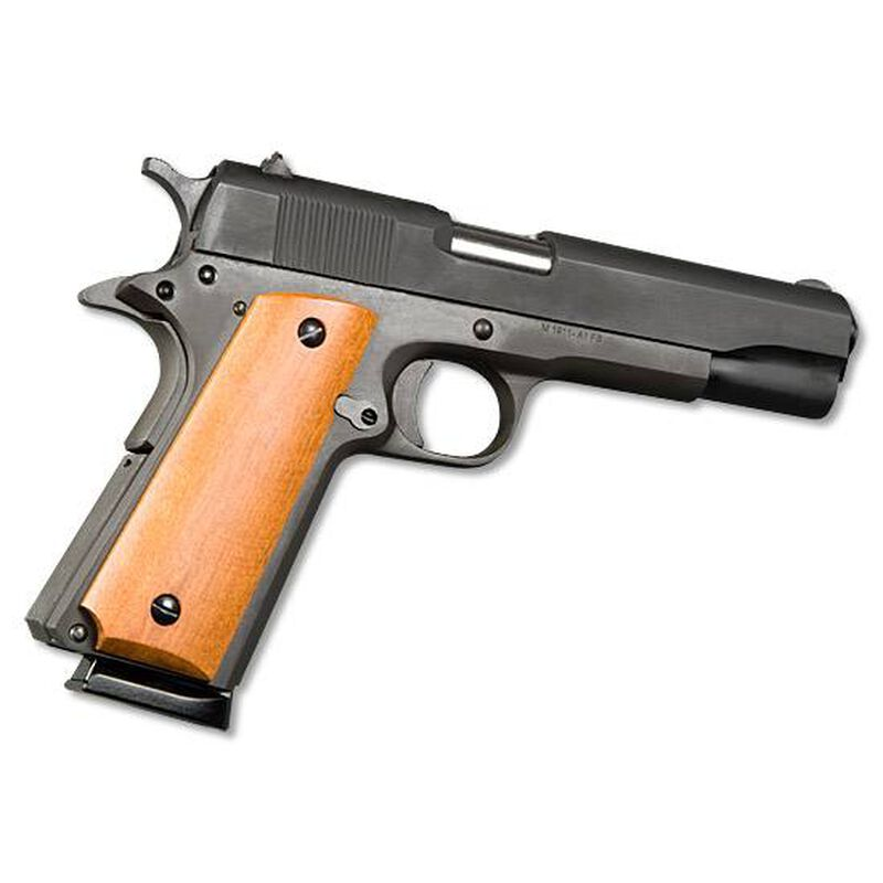 "Armscor Rock Island Armory 1911 Standard GI Semi Automatic Pistol .45 ACP 5"" Barrel 8 Rounds Smooth Wood Grips Parkerized Finish 51421"