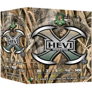 "Hevi-Shot Hevi-X 20 Gauge Ammunition 25 Rounds 3"" Shell #6 Tungsten Lead Free Shot 1oz 1450fps"