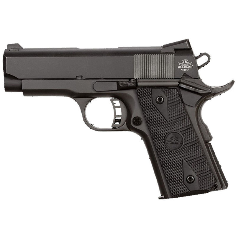 """Rock Island Armory Rock Series Compact Size 1911 Semi Auto Pistol .45 ACP 3.62"""" Barrel 7 Rounds Dovetail Front Sight/Fixed Rear Sights Rubber Grips Parkerized Matte Black"""