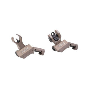 Troy Industries Offset Folding Sight Set AR-15 HK Front/Round Rear Aluminum FDE SSIG-45S-HRFT-00