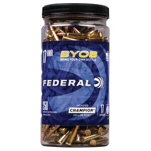 Federal Champion BYOB .17 HMR Ammunition 250 Rounds 17 Grain Jacketed Hollow Point 2530fps
