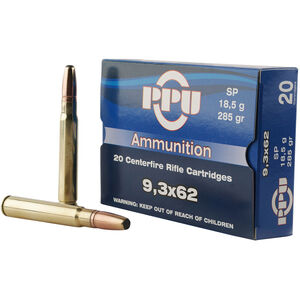 Prvi Partizan PPU Metric 9.3x62 Mauser Ammunition 20 Rounds 285 Grain SP 2265fps