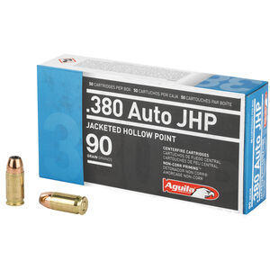 Aguila .380 ACP Ammunition 50 Rounds 90 Grain Jacketed Hollow Point 945fps