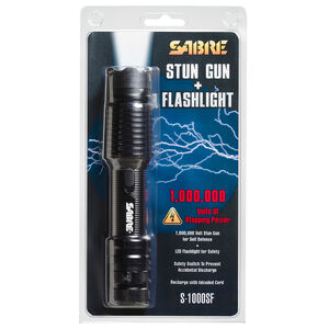 SABRE One Million Volt Stun Gun with Flashlight Rechargeable Aluminum Black S-1000SF