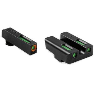 TRUGLO TFX PRO Tritium Fiber Optic Xtreme Ruger American Pistols Front/Rear Sight Set Green Day/Night Sights Orange Focus Ring Steel Black TG13RS3PC