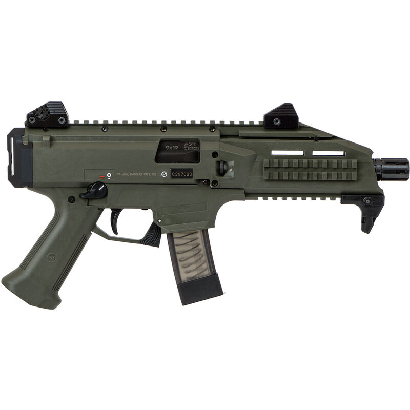 "CZ Scorpion EVO 3 S1 Pistol Semi Auto Pistol 9mm Luger 7.72"" Barrel 20 Rounds Low Profile Fully Adjustable Aperture/Post Fiber-Reinforced Polymer Frame OD Green"