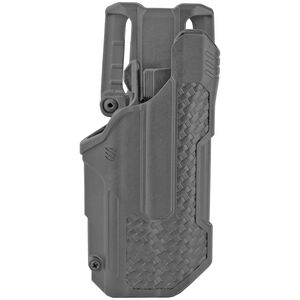 BLACKHAWK! T-Series LVL 2 Duty Belt Holster for Glock 17/22/31 With TLR 1 And 2 Right Hand Polymer Basket Weave Finish Black
