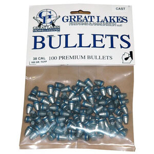 "Great Lakes Bullets and Ammunition .38 Caliber .358"" Diameter 105 Grain Cast Lead Truncated Cone Flat Point Bullets 100 Pack B688310"