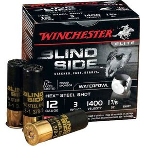 "Winchester Blind Side 12 Ga 3"" BB Hex Steel 1.375oz 25 rds"