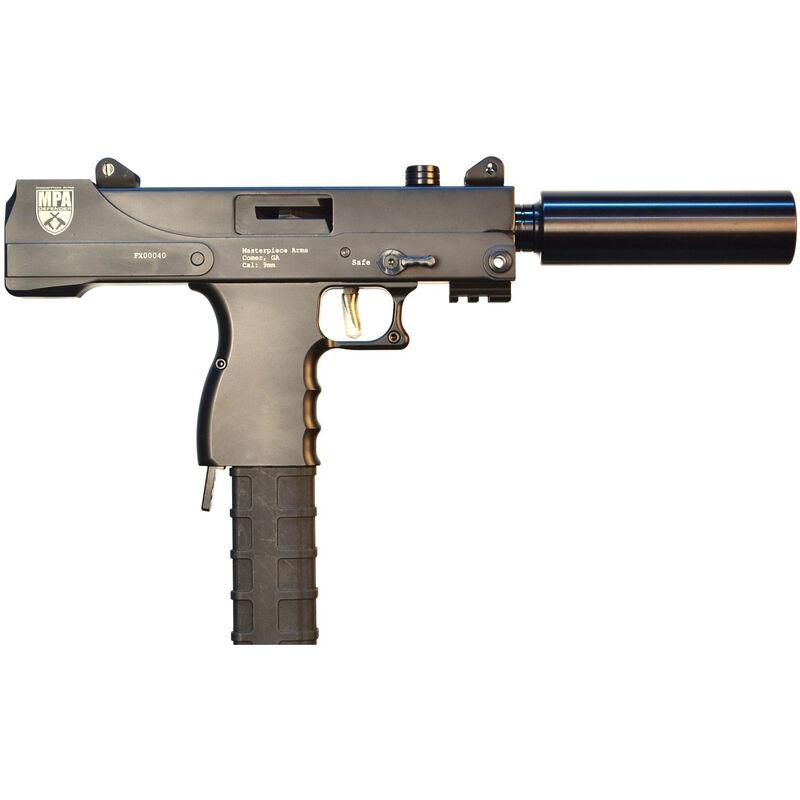 "Masterpiece Arms Defender MPA30T 9mm Luger Semi Auto Pistol 4.5"" Threaded Barrel 30 Rounds Top Cocker Aluminum Lower Matte Black Finish"