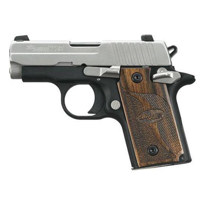 "SIG Sauer P238 SAS Micro-Compact .380 ACP Semi Auto Pistol 2.7"" Barrel 6 Rounds SIGLITE Night Sites Wood Grips Two Tone Nitron/Black Finish"