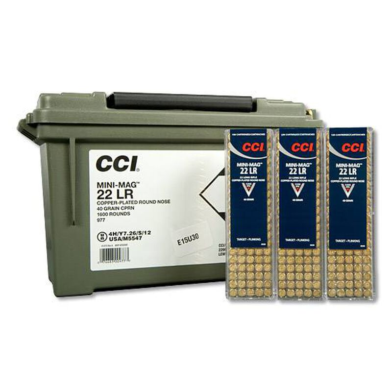 CCI Mini-Mag  22LR Ammunition 1,600 Rounds CPRN 40 Grain 1,235 Feet Per  Second Plano Ammo Can