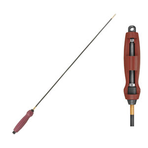 """Tipton Deluxe One Piece Carbon Fiber Cleaning Rod .22 to .26 Caliber Threaded 8-32 40"""" Long Carbon Fiber Rob Polymer Handle Dark Red"""