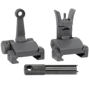 Midwest Industries AR-15 Combat Rifle Flip Up Complete Sight Set Mil-Spec Height 6061 Aluminum Base Matte Black Finish