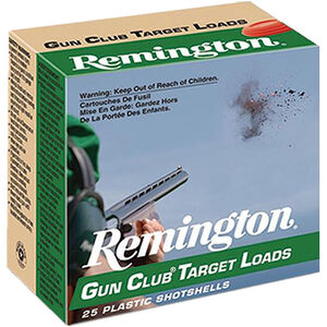 "Remington Gun Club Target Loads 12 Gauge Ammunition 2-3/4"" Shell #7.5 Lead Shot 1-1/8 Ounce 1145 fps"