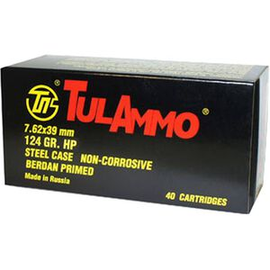 TulAmmo 7.62x39mm Ammunition 40 Rounds 124 Grain HP Polymer Coated Steel Case 2330 fps