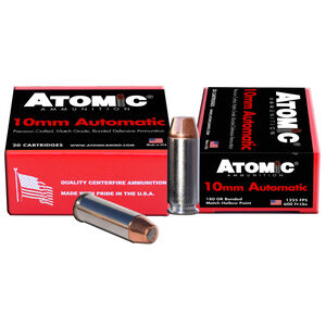 Atomic 10mm Auto Ammunition 20 Rounds 180 Grain Bonded Match Hollow Point 1225fps