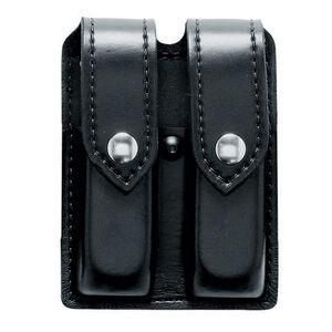 Safariland Model 77 Double Handgun Magazine Pouch GLOCK 20/21 Magazines Hi-Gloss Finish Brass Snap Closure Black 77-383-9B