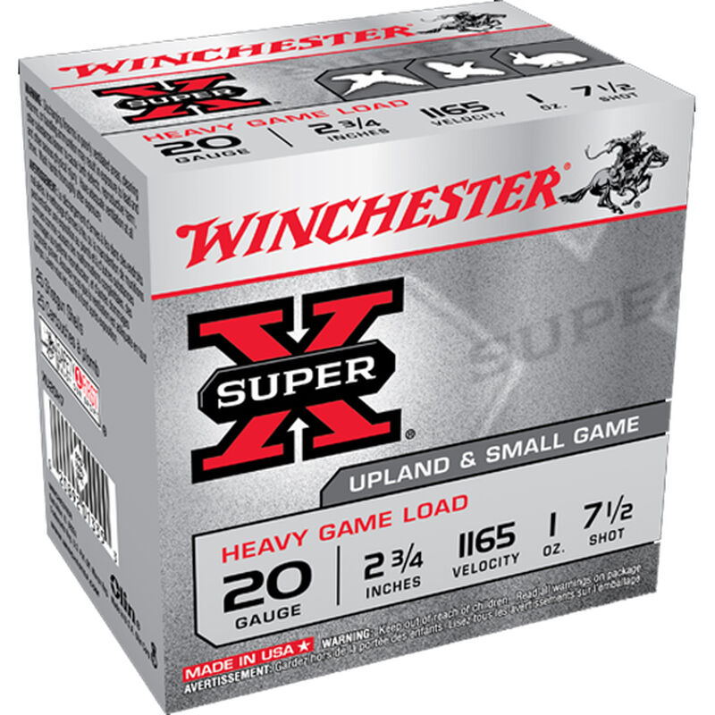 "Winchester Super-X Heavy Game 20 Gauge Ammunition 25 Rounds 2.75"" #7.5 Lead 1 oz 1165fps"