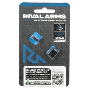 Rival Arms In-Line Night Sights for GLOCK 17/19 Models White Front Ring/White Rear Ring Tritium Inserts Steel Housing Black Finish