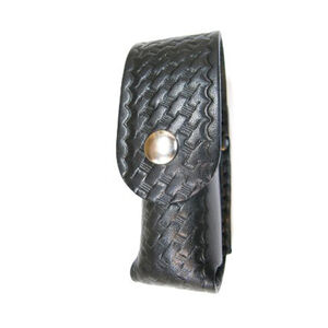 "Boston Leather Chemical Pepper Spray Holder 2 oz. Bodyguard 2.25"" Belt Nickel Snaps Leather Basket Weave Black 5535-3-N"