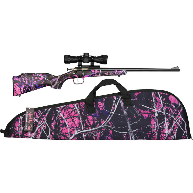 """Keystone Crickett Package .22 LR Youth Single Shot Bolt Action Rimfire Rifle 16"""" Barrel 1 Round with Scope and Case Muddy Girl Synthetic Stock Blued Finish"""