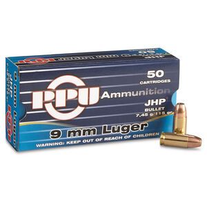 Prvi Partizan PPU 9mm Luger Ammunition 50 Rounds 115 Grain Jacketed Hollow Point 1145fps