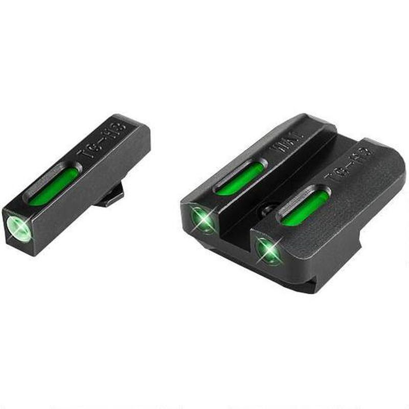 TruGlo TFX Standard Height Ruger American Series Front/Rear Day/Night Sight Set Green Tritium 3-Dot Configuration Front White Focus Lock Ring Square Cut Rear Notch Steel Black