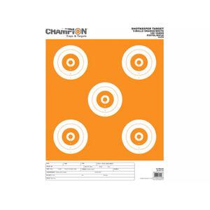 Champion ShotKeeper White/Orange 5 Large Bullseyes Paper Target 12 Pack