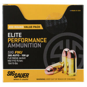 SIG Sauer Elite Performance .380 ACP Ammunition 50 Rounds 100 Grain Full Metal Jacket 910fps