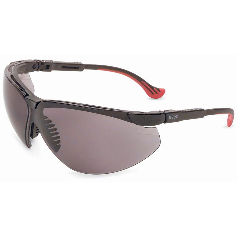 Uvex Genesis Safety Glasses Gray Lenses Spatula Temples Black/Red S3301X
