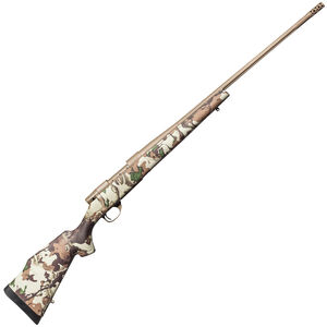 """Weatherby Vanguard First Lite .257 Wby Mag Bolt Action Rifle 28"""" Barrel 3 Rounds with Accubrake First Lite Fusion Camo Synthetic Stock FDE Cerakote Finish"""