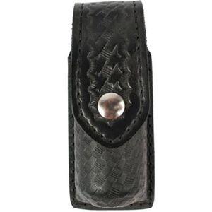 "Safariland Model 38 OC Spray Holder Standard Top Flap 1.375""x5"" SafariLaminate Chrome Snap Closure Basket Weave Black 38-4"