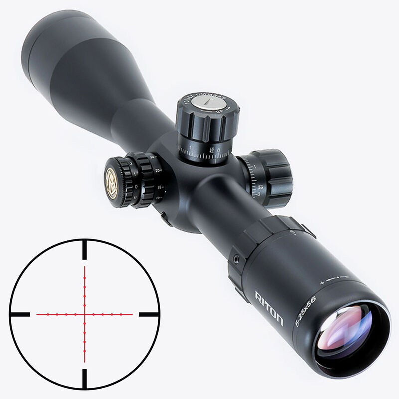 Riton RT-S Mod 7 5-25x56 Riflescope Illuminated Mil-Dot Reticle 34mm Tube .25 MOA per Click 6061-T6 Aluminum First Focal Plane Adjustable Parallax Matte Black