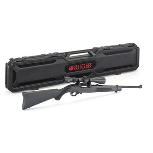 """Ruger 10/22 Semi Auto Rifle With Viridian EON 3-9x40 Scope .22 LR 18.5"""" Barrel 10 Rounds Black Synthetic Stock Hard Case Satin Black Finish"""
