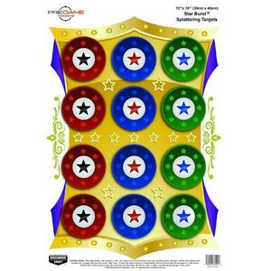 """Birchwood Casey Pregame 12""""x18"""" Star Burst Paper Target Reactive Zones Indoor/Outdoor 8 Pack 35572"""
