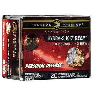 Federal Premium Hydra-Shok Deep .40 Smith & Wesson Ammunition 20 Rounds 165 Grain Hydra-Shok Deep Hollow Point Projectile 1050fps